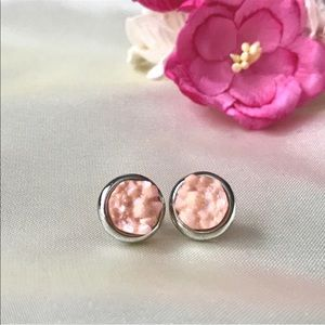 Jewelry - Pink Iridescent Druzy Round Silver Stud Earrings